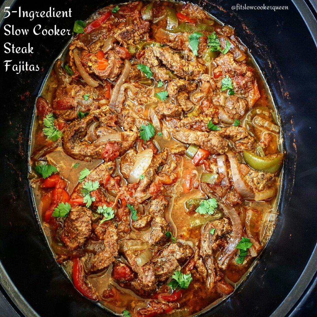 5 Ingredient Slow Cooker Steak Fajitas Fit Slowcooker Queen