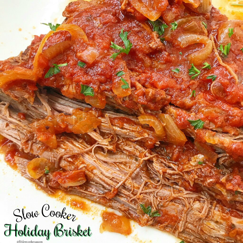 Slow Cooker Holiday Brisket - Fit SlowCooker Queen